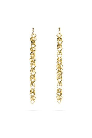 Square Hoop Millefeuille earrings | GOLD