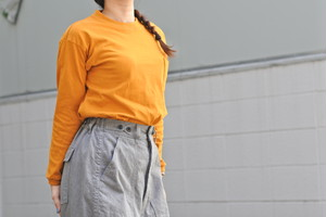 【maillot】us cotton double pocket long Tee col.GOLD