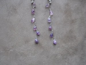 purple fluorite drop earrings/pierce (silver)