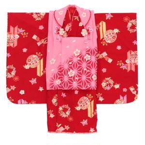 【3歳】f_00854a 七五三/節句 被布セット 可愛らしい花柄 手鞠 レッド×ピンク f_00854a