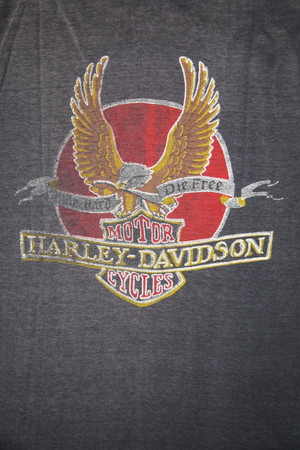 70~80's FAST BALL Harley-Davidson Print T-Shirts Cut Off(黒)