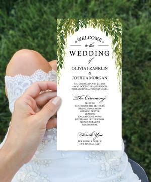 【SimpleGreen】ゲストが何名でもこの値段♥︎自分で作る海外風ウェディングプログラム表キット│結婚式