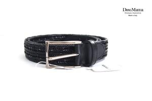 ディノマッティア|Dino Mattia|レザーメッシュベルト|95|ブラック×グレイ