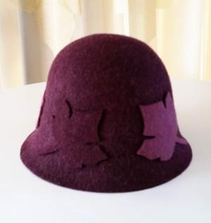 HT-004 Leaf motif wool hat リーフモチーフ付きウールハット