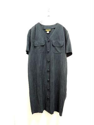 Used Dark Gray Rayon V-Neck Short Sleeve Dress