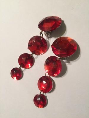 Vintage red bijou earrings ( ヴィンテージ  レッド ビジュー イヤリング )