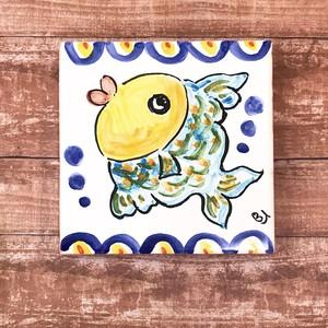 マヨリカ焼きタイル 10cm×10cm 魚柄