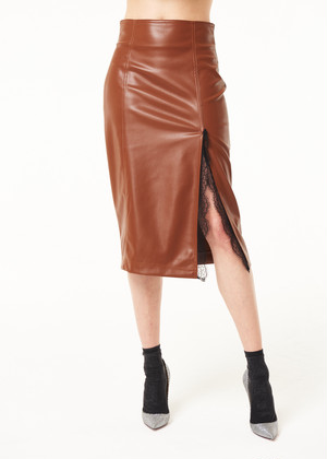 DENNY ROSE エコレザーレース切替ペンシルスカート(2カラー):021DD70014 ¥24,000+tax