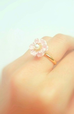 つまみ細工〜八重桜の指輪〜