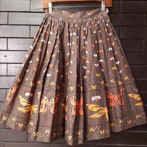 50~60's vintage butterfly pattern gather skirt 50~60年代ヴィンテージ蝶柄ギャザースカート