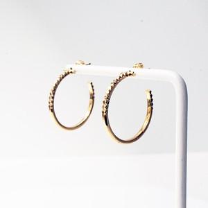 Rock Gold Hoop Pierced Earrings / M(E202-YG)