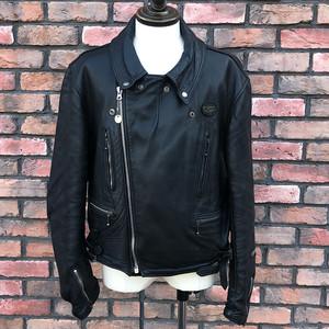 1970s Lewis Leathers Lightning Motorcycle Black Leather Jacket UK44