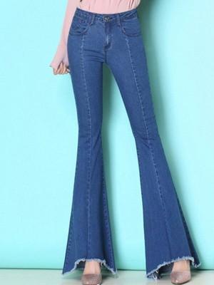 【bottoms】Classic plain bell-bottom jeans