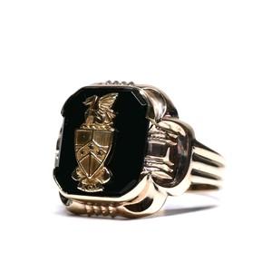 Vintage Ostby Barton 10k Gold & Onyx Emblem Ring