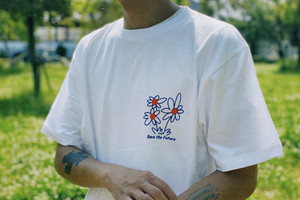 Flower Tee【White/Brown】