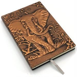 インテリアのような高級感のあるノート! アンティーク調 レトロ A5 象 ぞうノート 銅 3D壁画  日記帳