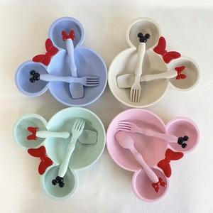 micky cutlery set 4colors / ディズニー ミッキー ミニー 食器セット 皿 レトロ 韓国雑貨