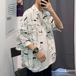 【メンズファッション】大好評超人気韓国系落書きPOLOネック七分袖カジュアルメンズシャツ32405890