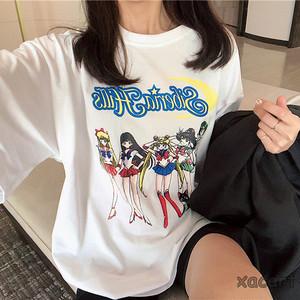 【トップス】新作カートゥーンプリントゆったりTシャツ