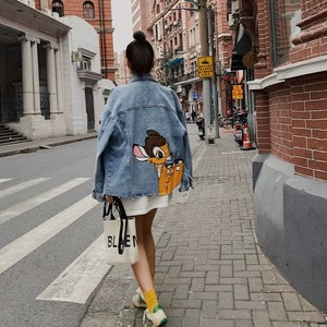 back animation denim jacket