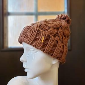 ナンバーニット帽(ブラウン)