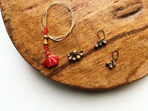 小さな鈴のネックレスとピアスSET5