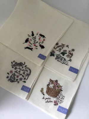 リネン(麻100%)ハンカチ ネコ刺繍シリーズ