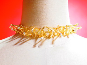 Three-dimensional Toge CHOKER[Gold]