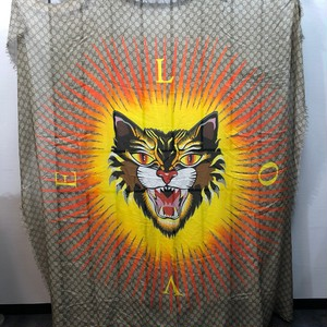 .GUCCI ANGRY CAT GG PATTERNED LARGE SIZE SHAWL MADE IN ITALY/グッチアングリーキャットGG柄大判ショール 2000000038568