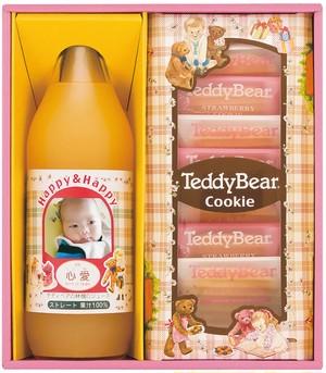 テディベアHAPPYギフト りんごジュースと焼き菓子の詰合せ CUME-15A×5個