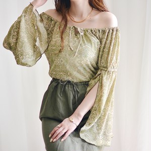 vintage flare sleeve off shoulder tops / light green