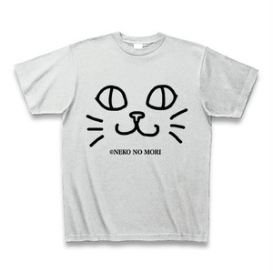 【送料込】ねこのもりオリジナル キャットフェイスTシャツ にっこり猫 アッシュ