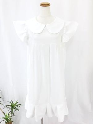 上質なコードレーン素材で作った清涼感のある大人スタイル。胸元プリーツと袖&裾フリルが可愛さを演出する白色の上品な丸襟ワンピース。一点もの コットン100%  大人 通勤 通学 オールシーズン 万能 快適