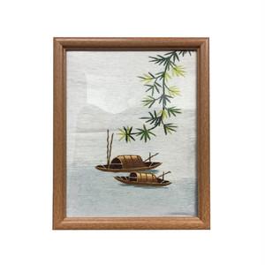 ベトナム 絵刺繍 全面手刺繍 刺繍画 ハンドメイド ベトナム雑貨 額付き