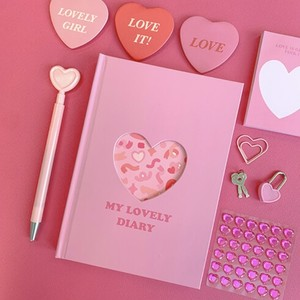 2021 pink heart dairy / 2021年 ピンク ハート 万年 ダイアリー 手帳 日記帳 ハングル 韓国雑貨