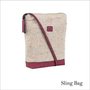 VEGAN NETTLE SLING BAG  MAROON / ショルダーバッグ コルク&イラクサ製 斜め掛け