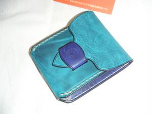 カードケース付き 大きめコインケース ターコイズ×ブルー オイルレザー 手縫い