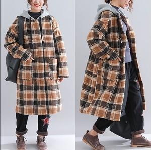 大きいサイズ レディース フード付きチェックコート 長袖 秋冬 ブラウン【S8865467】