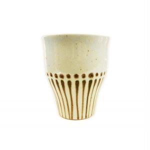ビアカップ 陶器 ベージュ [ストライプ]