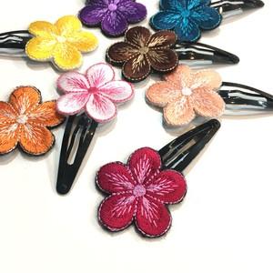 花刺繍のパッチピン小/梅