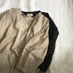 ドッドバルーン袖シャツワンピース インド綿