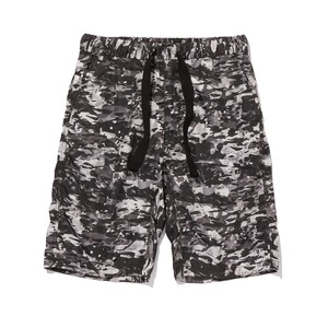 LAYRED CAMO PRINTED EASY SHORT PANTS -BLACK