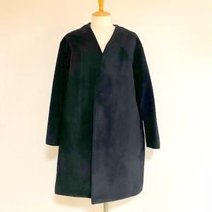 Wool Mosser Loose No Collar Coat Black