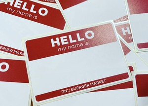 TIN'z BURGER MARKET 『Hello my name is』 Sticker