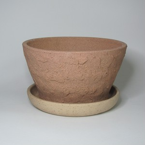 焼締め植木鉢(浅)受皿付 陶器(信楽焼)製【SO-8988・9745】