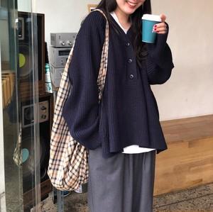 【tops】Vネック無地シンプル韓国系合わせやすいセーター24787006