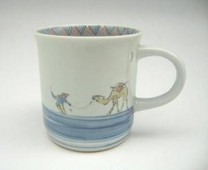 染錦砂漠駱駝文マグカップ