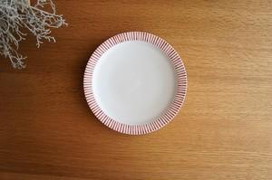 砥部焼/5.5寸リム付皿/赤十草/すこし屋