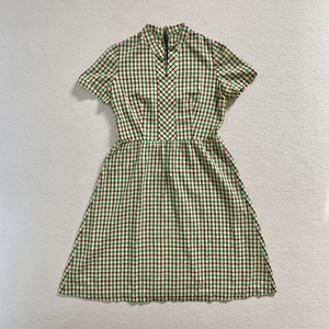 checkered no collar dress (V5098A)