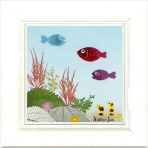 お魚さんと海の仲間たちシリーズ(15×15)ホワイト額付き